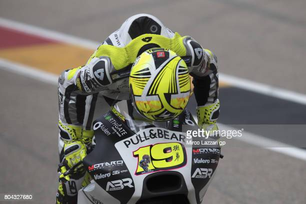 Alvaro Bautista of Spain and PullBear Aspar Team starts from box and kiss the bike during the MotoGp of Germany Free Practice at Sachsenring Circuit...