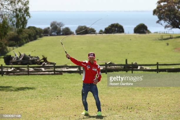 Alvaro Bautista of Spain and rider of the Angel Nieto Team attempts whip cracking at Churchill Island Heritage Farm during previews ahead of the 2018...