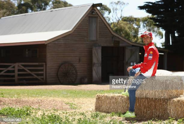 Alvaro Bautista of Spain and rider of the Angel Nieto Team poses at Churchill Island Heritage Farm during previews ahead of the 2018 MotoGP of...