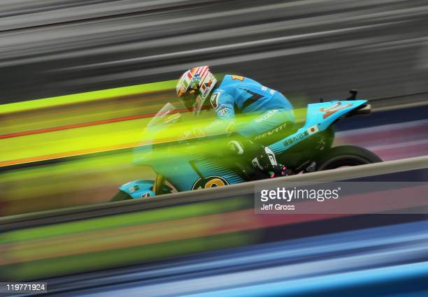 Alvaro Bautista of Spain and Rizla Suzuki MotoGP rides during a warm up for the Red Bull US Grand Prix at Mazda Raceway Laguna Seca on July 24 2011...