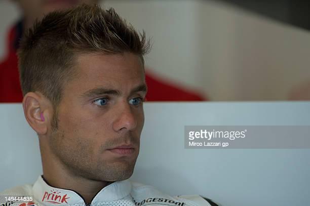 Alvaro Bautista of Spain and San Carlo Honda Gresini looks on in box during the free practice of the Red Bull US Grand Prix at Mazda Raceway Laguna...