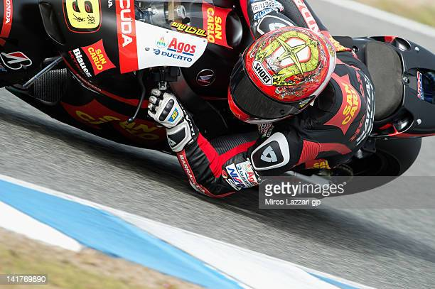 Alvaro Bautista of Spain and San Carlo Honda rounds the bend during the first day of testing of MotoGP Tests In Jerez at Circuito de Jerez on March...