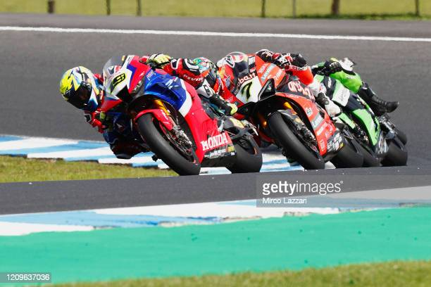 Alvaro Bautista of Spain and Team HRC leads the field during the Superbike race 02 during the 2020 Superbike World Championship at Phillip Island...