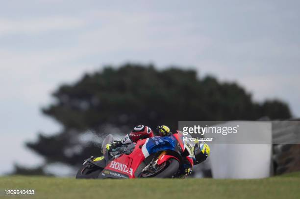 Alvaro Bautista of Spain and Team HRC rounds the bend during the Superbike race 2 during the 2020 Superbike World Championship at Phillip Island...