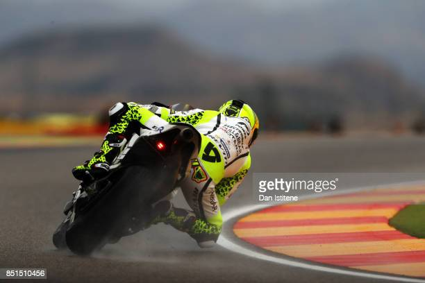 Alvaro Bautista of Spain and the PullBear Aspar Team rides during practice for the MotoGP of Aragon at Motorland Aragon Circuit on September 22 2017...