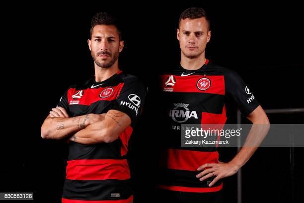 Alvaro Cejudo and Oriol Riera pose during the Western Sydney Wanderers 2017/18 ALeague Season kit launch on August 11 2017 in Sydney Australia