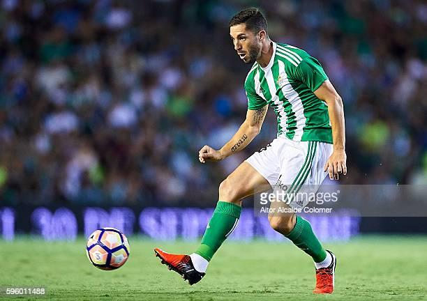 Alvaro Cejudo of Real Betis Balompie in action during the match between Real Betis Balompie v RC Deportivo La Coruna as part of La Liga at Estadio...