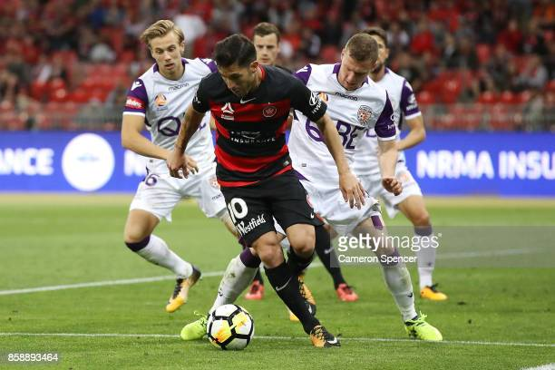 Alvaro Cejudo of the Wanderers controls the ball during the round one ALeague match between the Western Sydney Wanderers and the Perth Glory at...