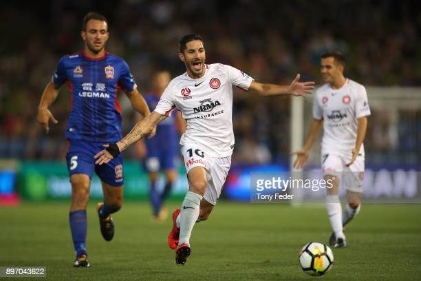 Alvaro Cejudo of the Wanderers in action during the round 12 ALeague match between the Newcastle Jets and the Western Sydney Wanderers at McDonald...