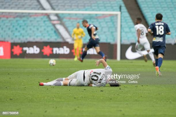 Alvaro Cejudo of the Wanderers lies on the ground after being heavily tackled during the round nine ALeague match between the Western Sydney...