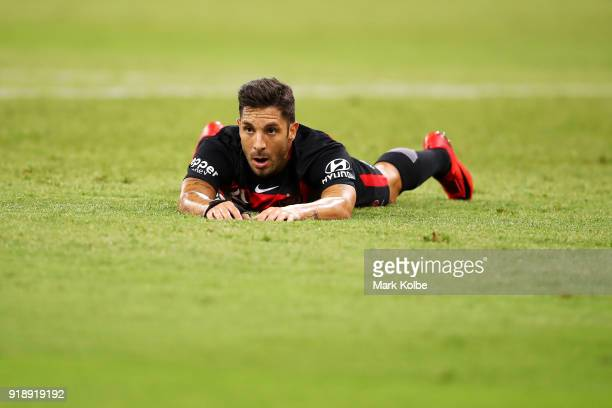 Alvaro Cejudo of the Wanderers looks dejected after a missed shot on goal during the round 20 ALeague match between the Western Sydney Wanderers and...