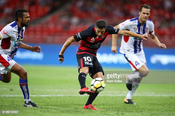 Alvaro Cejudo of the Wanderers shoots on goal during the round 20 ALeague match between the Western Sydney Wanderers and the Newcastlee Jets at...
