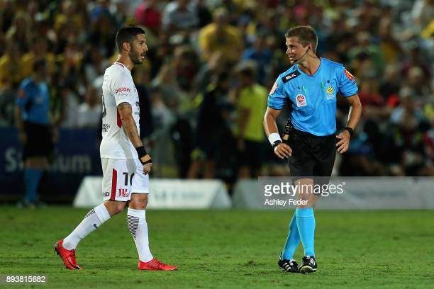 Alvaro Cejudo of the Wanderers speaks with Referee Alex King about a decision during the round 11 ALeague match between the Central Coast and the...