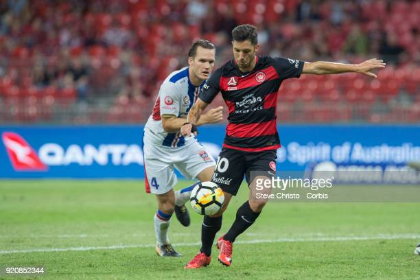Alvaro Cejudo of the Wanderers takes a shot at goal during the round one ALeague match between the Western Sydney Wanderers and the Newcastle Jets at...