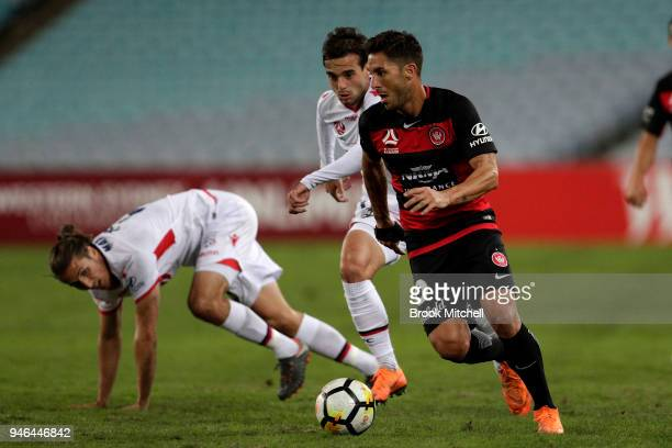 Alvaro Cejudo of the Western Sydney Wanderers competes for the ball during the round 27 ALeague match between the Western Sydney Wanderers and...