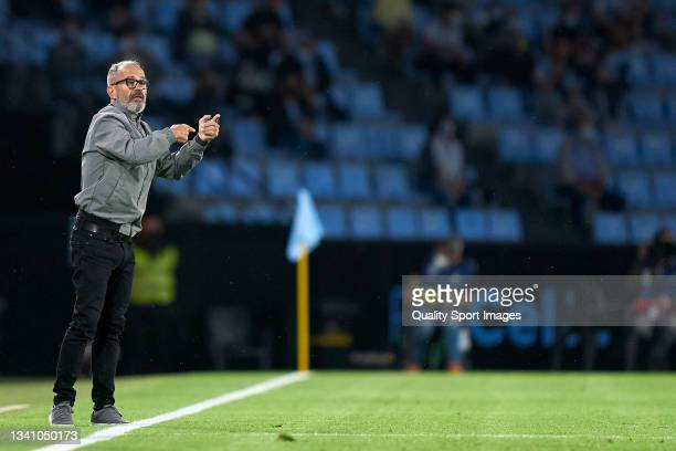 Alvaro Cervera the manager of Cadiz CF reacts during the La Liga Santander match between RC Celta de Vigo and Cadiz CF at Abanca Balaidos Stadium on...