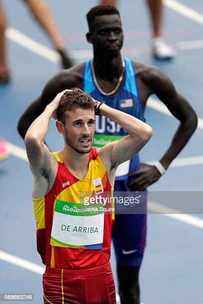 Alvaro de Arriba of Spain and Charles Jock of the United States react after competeing in round one of the Men's 800 metres on Day 7 of the Rio 2016...