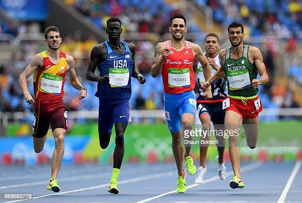 Alvaro de Arriba of Spain, Charles Jock of the United States, Wesley Vazquez of Puerto Rico and Yassine Hethat of Algeria compete in round one of the...