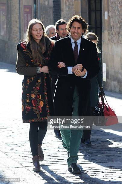 Alvaro de Marichalar and Ekatherina Anikieva attend the anniversary funeral for Count of Ripalda Amalio de Marichalar who died 1979 at Santo Domingo...
