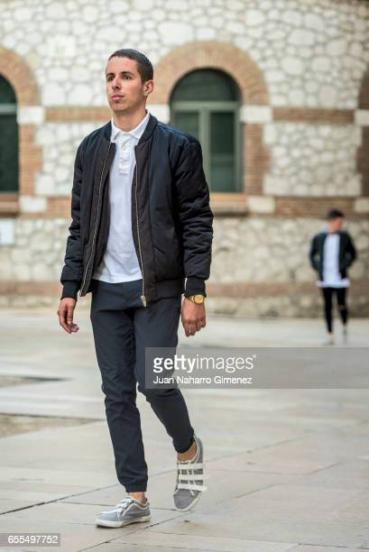 Alvaro de Olmedo wears ZARA sneakers trousers tshit and jacket and Nixon watch during the 20th Malaga Film Festival 2017 on March 20 2017 in Malaga...