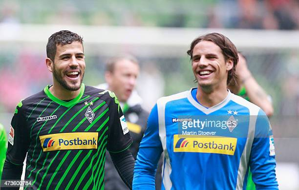 Alvaro Dominguez and Yann Sommer celebrate the victory after the Bundesliga match between SV Werder Bremen and Borussia Moenchengladbach at...
