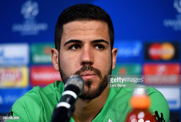 Alvaro Dominguez looks on during a Borussia Moenchengladbach press conference on the eve of the UEFA Champions League groupe D match against...
