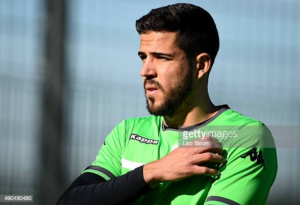Alvaro Dominguez looks on during a Borussia Moenchengladbach training session on the eve of the UEFA Champions League groupe D match against...