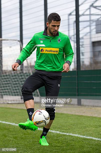 Alvaro Dominguez of Borussia Moenchengladbach controls the ball during a Training Session of Borussia Moenchengladbach at BorussiaPark on April 29...