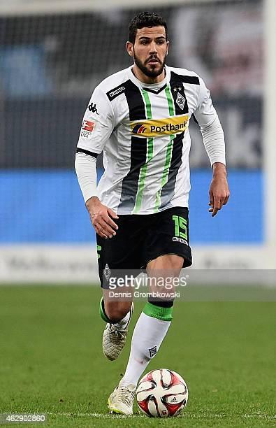Alvaro Dominguez of Borussia Moenchengladbach controls the ball during the Bundesliga match between FC Schalke 04 and Borussia Moenchengladbach at...