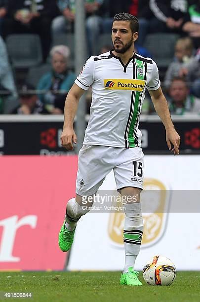 Alvaro Dominguez of Borussia Moenchengladbach controls the ball during the Bundesliga match between Borussia Moenchengladbach and VfL Wolfsburg at...