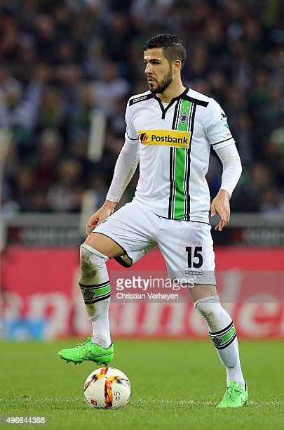 Alvaro Dominguez of Borussia Moenchengladbach controls the ball during the Bundesliga match between Borussia Moenchengladbach and FC Ingolstadt at...