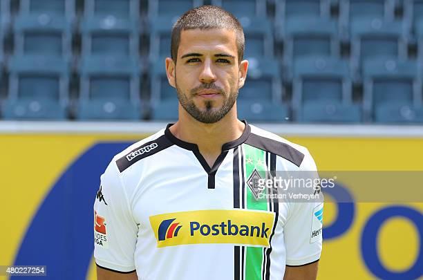 Alvaro Dominguez of Borussia Moenchengladbach poses during the Borussia Moenchengladbach team presentation at BorussiaPark on July 10 2015 in...