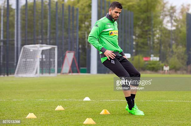 Alvaro Dominguez of Borussia Moenchengladbach runs during a Training Session of Borussia Moenchengladbach at BorussiaPark on April 29 2016 in...