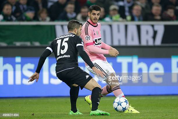Alvaro Dominguez of Borussia Monchengladbach Alvaro Morata of Juventus during the UEFA Champions League group D match between Borussia...