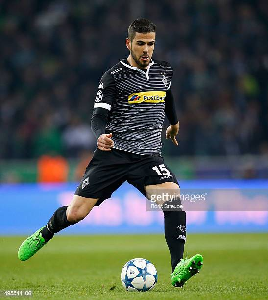 Alvaro Dominguez of Borussia Monchengladbach runs with the ball during the UEFA Champions League Group D match between VfL Borussia Monchengladbach...