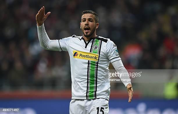 Alvaro Dominguez of Gladbach gestures during the Bundesliga match between Eintracht Frankfurt and Borussia Moenchengladbach at CommerzbankArena on...