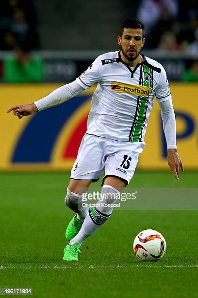 Alvaro Dominguez of Moenchengladbach runs with the ball during the Bundesliga match between Borussia Moenchengladbach and FC Ingolstadt at...