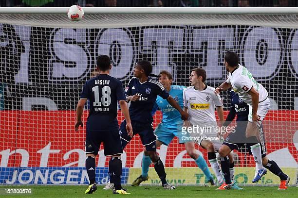 Alvaro Dominguez of Moenchengladbach scores the second goal during the Bundesliga match between Borussia Moenchengladbach and Hamburger SV at...