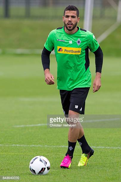 Alvaro Dominguez Soto of Borussia Moenchengladbach controls the ball during a training session at BorussiaPark on June 29 2016 in Moenchengladbach...