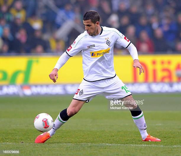 Alvaro Dominguez Soto of Borussia Moenchengladbach in action during the Bundesliga match between SC Freiburg and VfL Borussia Moenchengladbach at...
