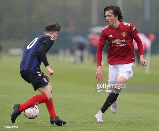 Alvaro Fernandez of Manchester United U18s in action during the U18 Premier League match between Manchester United U18s and Middlesbrough U18s at Aon...