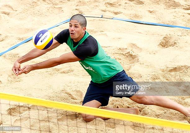 Alvaro Filho of Brazil receives the ball during a match between Brazil and Brazil as part of day two of Corrientes Grand Slam of FIVB World Tour at...
