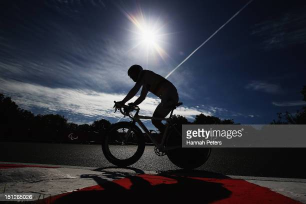 Alvaro Galvis Becerra of Columbia competes in the Men's Individual C 2 Time Trial on day 7 of the London 2012 Paralympic Games at Brands Hatch on...