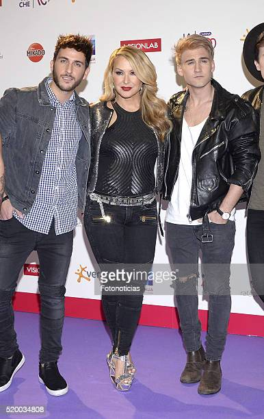 Alvaro Garcia Gango and Daniel Fernandez Delgado of spanish band Auryn and Anastacia attend the 'La Noche de Cadena 100' photocall at the Barclaycard...