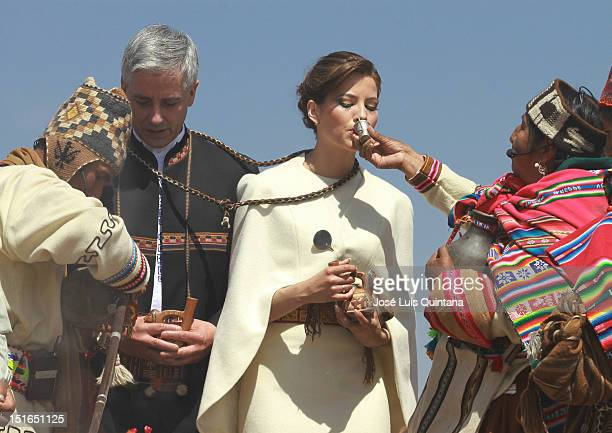 Alvaro Garcia Linera vice president of Bolivia and Claudia Fernandez marry in solemn Andean ritual at the Akapana ruins in the archaelogical site of...