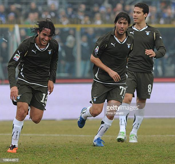Alvaro Gonzalez of Lazio celebrates after scoring his opening goal with teammates during the Serie A match between Brescia Calcio and SS Lazio at...