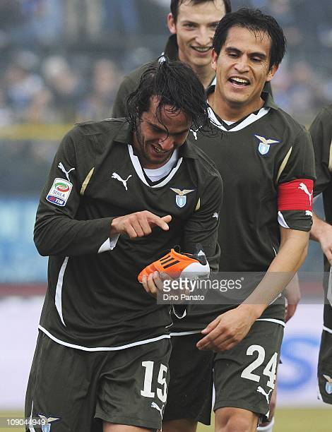 Alvaro Gonzalez of Lazio celebrates after scoring the opening goal during the Serie A match between Brescia Calcio and SS Lazio at Mario Rigamonti...
