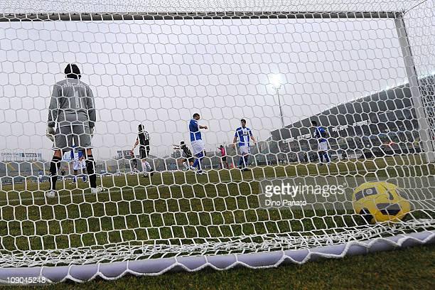 Alvaro Gonzalez of Lazio scores the opening goal during the Serie A match between Brescia Calcio and SS Lazio at Mario Rigamonti Stadium on February...