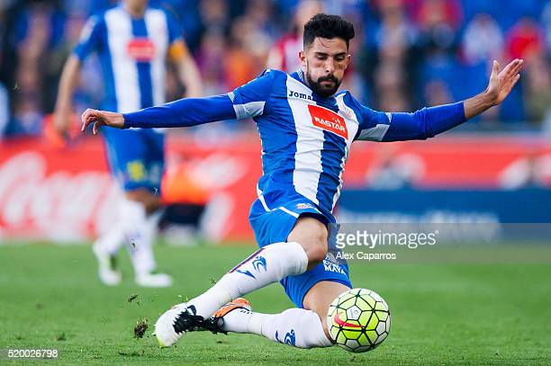 Alvaro Gonzalez of Real CD Espanyol kicks the ball during the La Liga match between Real CD Espanyol and Club Atletico de Madrid at CornellaEl Prat...