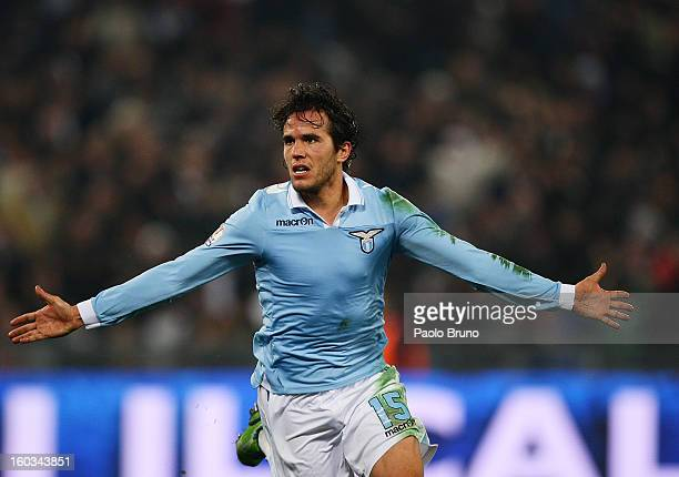 Alvaro Gonzalez of S.S. Lazio celebrates after scoring the opening goal during the TIM cup match between S.S. Lazio and Juventus FC at Stadio...